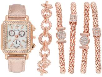 Women's Crystal Watch & Popcorn Bracelet Set