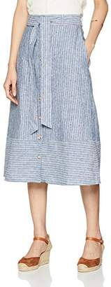 Warehouse Women's Button Stripe Linen Skirt,6