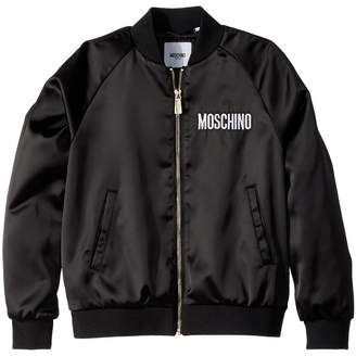Moschino Kids Jacket w/ Sequin Teddy Bear on Back Girl's Coat