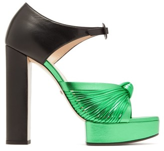 Gucci Crawford Knotted Metallic Leather Platform Sandals - Womens - Black Green