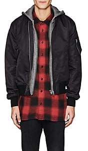 R 13 Men's Layered-Look Insulated Bomber Jacket-Black