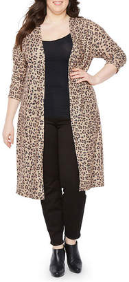 Boutique + + Long Sleeve Open Front Leopard Cardigan - Plus