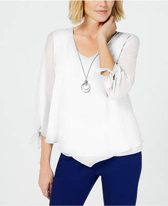 JM Collection Asymmetrical Necklace Blouse