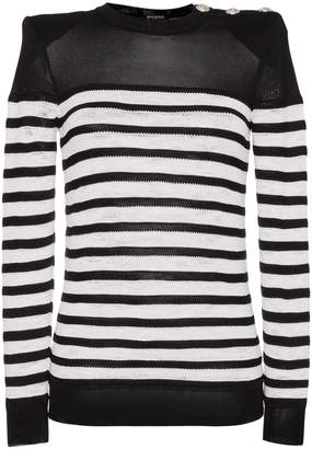 Balmain crew neck stripe long sleeve jumper