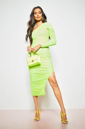 boohoo One Shoulder Ruched Double Layer Midi Dress