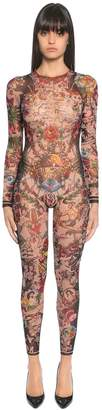 DSQUARED2 Aloha Printed Tulle Long Bodysuit