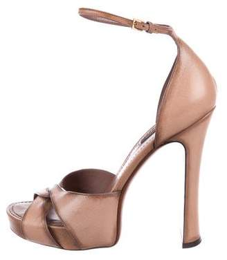 Louis Vuitton Leather Crossover Sandals