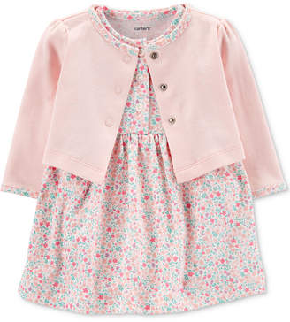 02aee4a05f6 Carter s Carter Baby Girls 2-Pc. Cotton Cardigan   Printed Dress Set