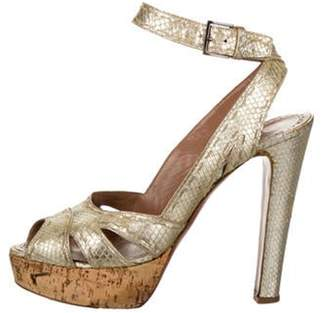 Alaà ̄a Snakeskin Platform Sandals Gold Alaà ̄a Snakeskin Platform Sandals
