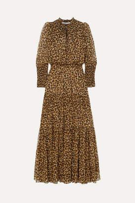 Veronica Beard Stacia Tiered Leopard-print Silk-georgette Maxi Dress - Leopard print