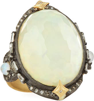 Armenta Old World Oval Opal Triplet Ring w/ Diamonds