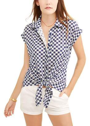 French Laundry Women's Short Sleeve Front Tie Button Up T-Shirt