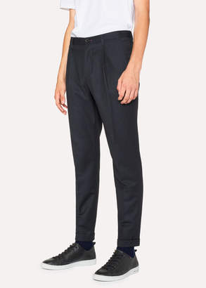 Paul Smith Men's Dark Navy Pleated Wool And Cotton-Blend Pants