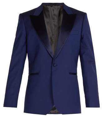 Paul Smith Satin Lapel Wool Tuxedo Jacket - Mens - Blue