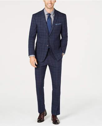 Perry Ellis Men's Slim-Fit Stretch Dark Blue Windowpane Plaid Suit
