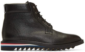 Thom Browne Black Cropped Blucher Lace-Up Boots