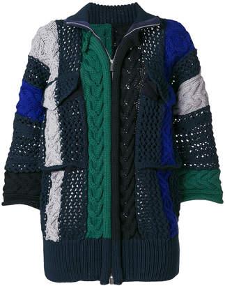 Sacai colour-block zipped cardi-coat