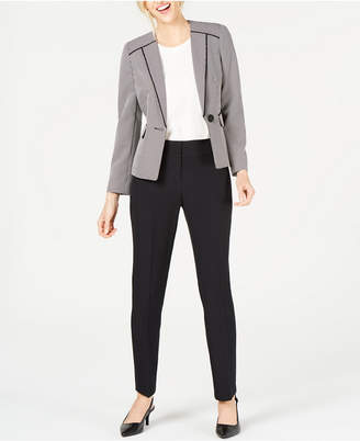 Le Suit Two-Tone Birdseye One-Button Pantsuit