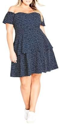 City Chic Spot Off the Shoulder Dress