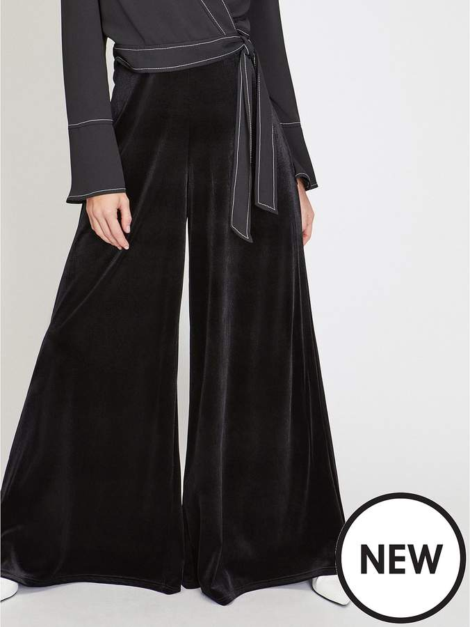 Velvet Super Wide Leg Trouser - Black