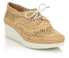 Clergerie Vicolek Raffia Wedge Sneakers