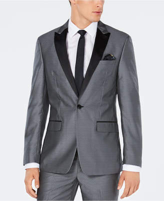 Tallia Men Big & Tall Slim-Fit Silver Medallion Jacquard Suit Jacket