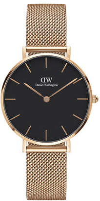 Daniel Wellington 32mm Classic Petite Melrose Bracelet Watch w/Black Dial