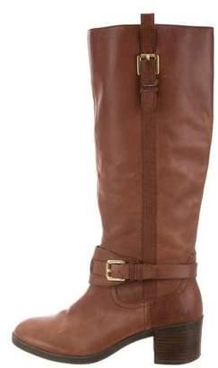 Ralph Lauren Leather Buckle Knee-High Boots