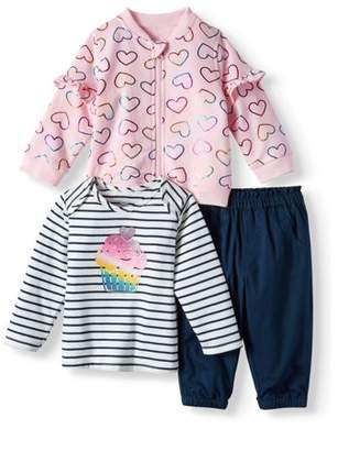 Wonder Nation Ruffle Sleeve Bomber Jacket, Long Sleeve T-shirt & Twill Jogger Pants, 3-Piece Outfit Set (Baby Girls)