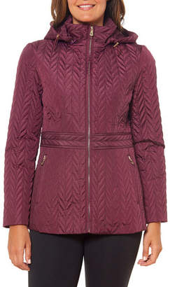 Kate Spade Quilted Chevron Funnel-Neck Midi Jacket