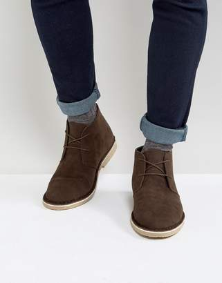 Asos Design Desert Boots In Brown Faux Suede