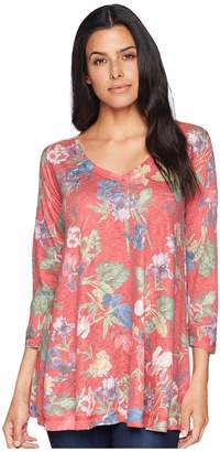 Nally & Millie 3/4 Sleeve Red Multi Floral Tunic Women's Blouse