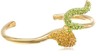 Kara Ross KARA by Crystal Snake, Gold with Orange and Green Crystals Cuff Bracelet, 2""