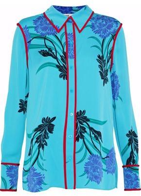 Diane von Furstenberg Floral-Print Silk-Blend Shirt