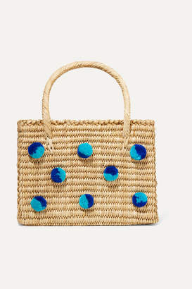 Nannacay - Baby Maldives Pompom-embellished Woven Raffia Tote - Neutral