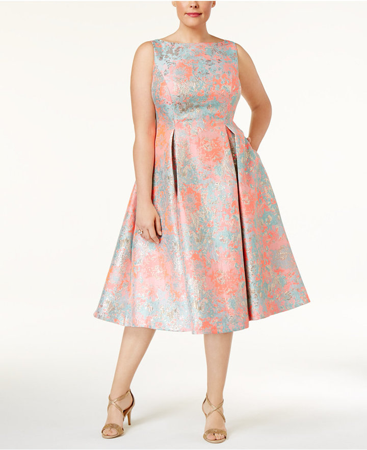 Adrianna PapellAdrianna Papell Plus Size Floral-Print A-Line Dress