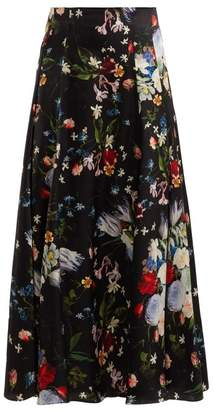 Erdem Vesper Edith Print Floral Silk Midi Skirt - Womens - Black Multi