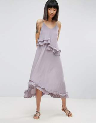 ASOS Double Layer Maxi Dress with Ruffle Detail in Washed Fabric $64 thestylecure.com