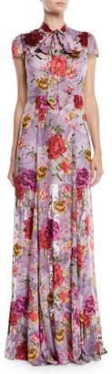 Alice + Olivia Roanne Floral Tie-Neck Godet Maxi Dress