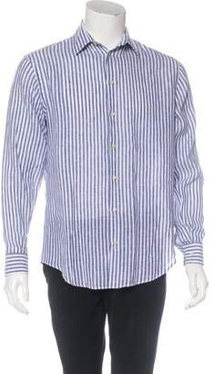 Armani Collezioni Striped Linen Dress Shirt