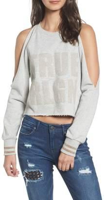 True Religion Brand Jeans Cold Shoulder Crop Sweatshirt