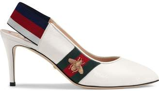 Gucci Leather Web mid-heel slingback pumps
