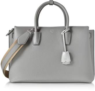 MCM Milla Ash Grey Leather Large Tote Bag