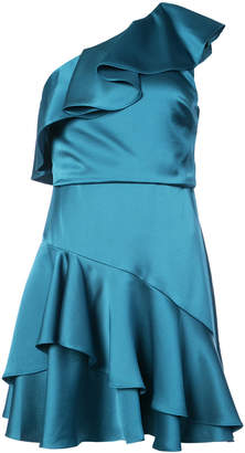 Halston satin ruffled one shoulder mini dress