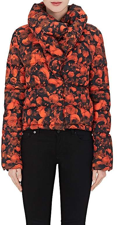Women's Rose-Print Crop Puffer Jacket