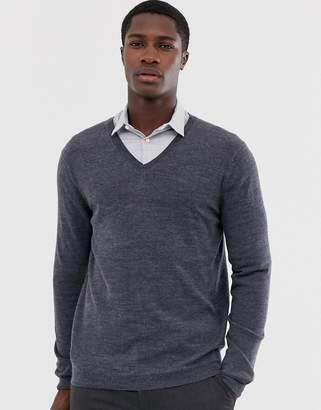 Asos DESIGN merino wool v-neck sweater in charcoal
