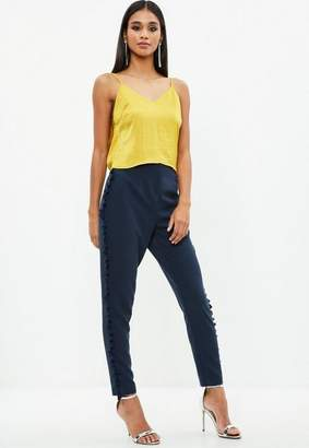 Missguided Navy Cropped Crepe Tassel Trousers, Blue