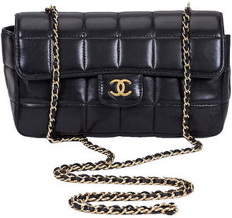 One Kings Lane Vintage Chanel Black Leather Cross Body Bag - Vintage Lux