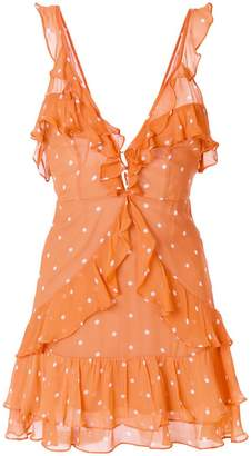 For Love & Lemons polka dot frill trim dress