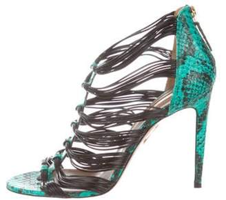 Aquazzura Embossed Leather Cage Sandals Green Embossed Leather Cage Sandals